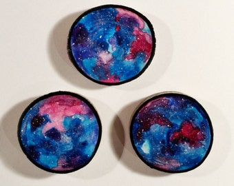 Galaxy Trio 003 - Watercolour Paintings on a Woodslices - Set of Three