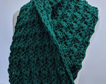 Handmade Scarf Rich Forest Green Cowl Scarf Double Thick - Ready to Ship & On Sale Now!