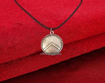 King Leonidas Shield Leather Cord Spartans Necklace Pendant