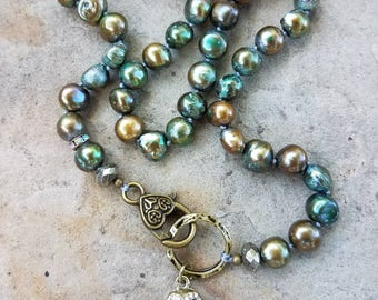 Pearl Choker, Owl Charm Necklace, Knotted Choker, Green Pearl Choker
