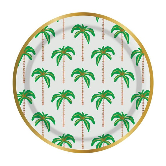 Palm Trees Plates - Set of 8 Large Palm Tree Plates With Gold Foil Edging - Great for a Tropical-Themed Birthday or Bachelorette! from CohassetPartySupply ...  sc 1 st  Etsy Studio & Palm Trees Plates - Set of 8 Large Palm Tree Plates With Gold Foil ...
