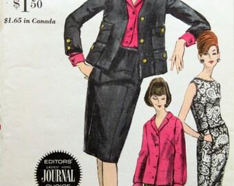 Vintage Vogue 6208 Sewing Pattern, 1960s Suit Pattern, Blouse Pants Skirt, 1960s Sewing Pattern, Bust 34, Collarless Jacket Pattern