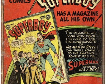"Superboy Superman Comic Book Ad 10"" X 7"" Reproduction Metal Sign J103"