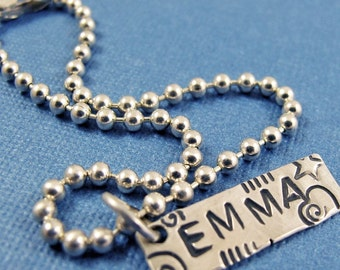 Personalized ID Name Bracelet - Sterling Silver - Custom handmade stamped charm bracelet
