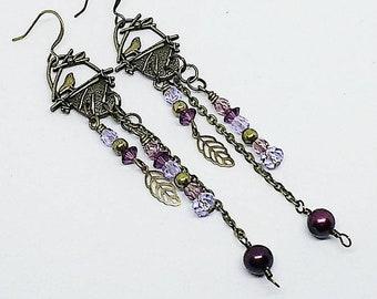 Bird nest earrings, brass bird earrings, purple crystal earrings, Swarovski crystal earrings, handmade, ready to ship, free shipping, bird