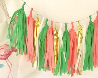 Flamingo Tassle Garland- 6 feet Tissue Paper garland-