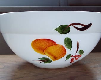 Vintage Fire King by Anchor Hocking Mixing Bowl with Painted Fruit Pattern