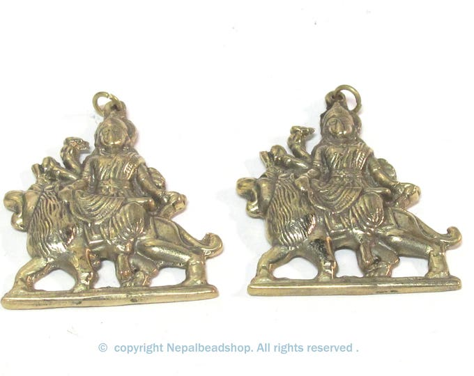 2 Pendants  - Large size Hindu Goddess revered Durga Maa Sherawali Brass amulet pendant - CP129s