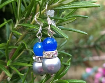Blue sapphire and grey shell pearl drop hook( sterling silver) earrings