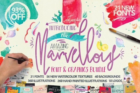 93% OFF Sale, Marvellous fonts Bundle, Digital Fonts and Graphics Deal, Brand New from Creativeqube, Watercolor Clipart, Digital Paper