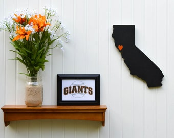 """San Francisco Giants """"State Heart"""" wall art, handcrafted wood with official team colors"""