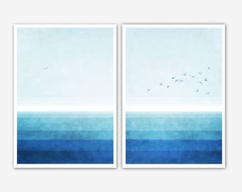 Deep Blue-set of 2 prints-two fine art Giclée prints-seascape-gulls-watercolour sea-abstract minimalist