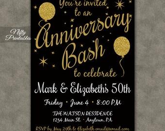 50th Anniversary Invitations - Printable Black & Gold Glitter Fiftieth Anniversary - Gold Balloons 50 Anniversary Party Invites - 50 Years