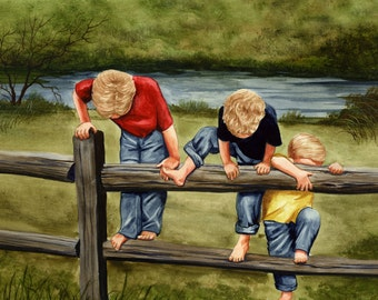 Three Little Boys (Brothers) painting
