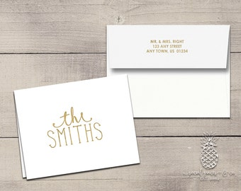 Letterpress Foil Thank You Cards & Envelopes - Family Name Correspondence Cards - Custom Stationery Fold Over Note Cards