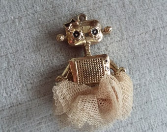 Vintage Robot Girl Pendant with Tulle Skirt, Like Rosie from the Jetsons!