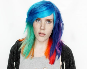 Rainbow wig | Blue wig, Purple wig, Green wig | Scene wig, Rainbow Hair wig, Straight wig, Long wig | Rainbow Sherbet
