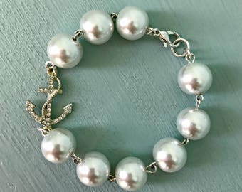 White Pearl and Rhinestone Anchor Bracelet, Womens vintage inspired jewelry, Retro, Rockabilly, Pinup