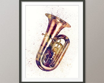 Tuba, Abstract Watercolor Music Instrument Art Print (2496)