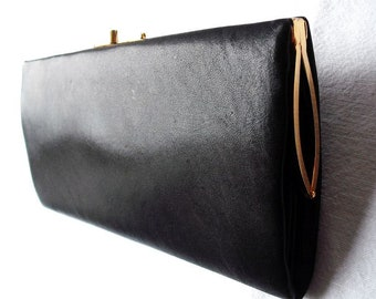 70s Big Wallet or Clutch / Synthetic Leather + Brass