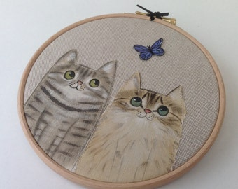 "Custom cat portrait - 6"" hoop art - double cat portrait - cat lover gift - cat art - made to order"
