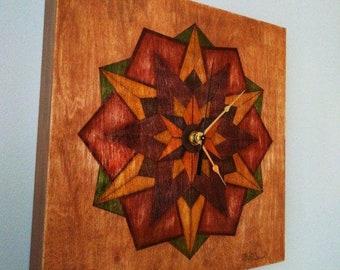 Clock. Unique wall art, Mandala style drawing.