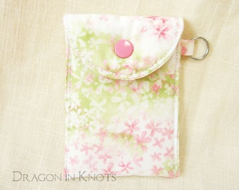 Business Card Case - Lip Balm and Debit Card Holder, Floral Keychain Wallet, pink flowers, white and green, insulated mini essentials pouch