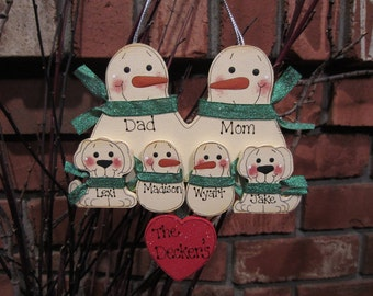 6 Family Members:  Personalized Snowman & Pet Ornament, Personalized Family Ornament, Family Ornament with Pets, Christmas Ornament, Dog Cat