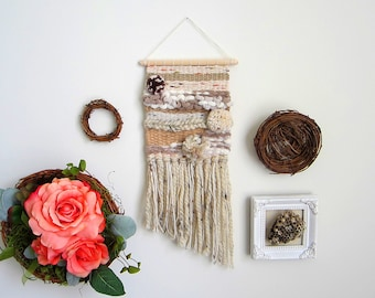 """Bohemian Mermaid woven tapestry wall hanging in beige, brown, taupe & white color palette. Woven of yarn, love and light. Size 5.5"""" x 16.5"""""""