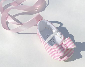 Toddler Girl Shoes Baby Girl Shoes Soft Soled Shoes Wedding Shoes Flower Girl Shoes Pink and White Stripe Glitter shoes - Kandi