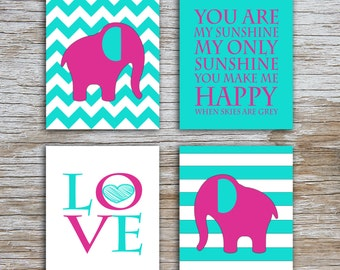 Kids (D) - You Are  My Sunshine - Elephant - Fuscia Turquoise - 4 Parts - (Digital Download, Instant Download, Printable)