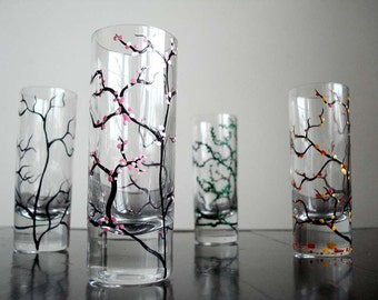 The Four Seasons Extra Tall Shot Glasses - 4 Piece Collection Hand Painted Shot Glasses