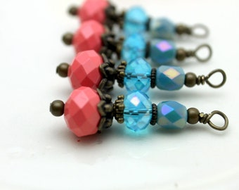 Vintge Style Coral Crystal and Czech Turquoise Bead Dangle Charm Drop Set - Earring Dangle, Charm, Drop, Pendant