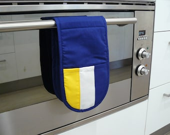 Double Oven Mitt - pot holder blue yellow and white football inspired west coast eagles