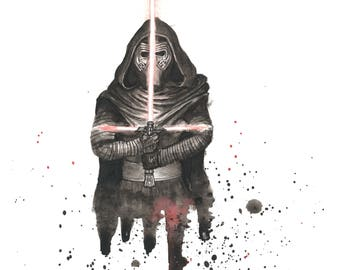 Kylo Ren Star Wars Watercolor 8x10 Art Print