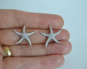 Bridal Cubic Zirconia Crystal Earrings, Starfish Stud Earrings, Beach Wedding Jewelry, Britney - Will Ship in 1-3 Business Days