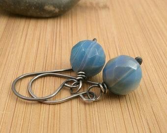 Blue Gemstone Earrings Oxidized Silver Earrings Rustic Earrings Blue Agate Summer Jewelry Ocean Blue Earrings Striped Round Stone Earrings
