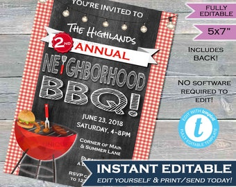 Neighborhood BBQ Invitation Backyard Summer Block Party Grill Out hoa Community Street Party Printable Personalized INSTANT SelfEDITABLE 5x7