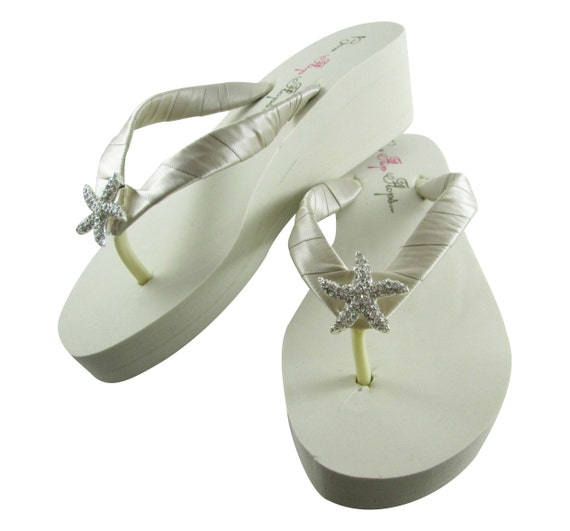 cec1c3d12 flip flop sandal Champagne bling Flops ivory Starfish shoes bridesmaid  Oatmeal Wedge flat white Bridal platform ...