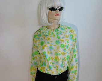 Vintage 60s Neon Green and Blue Floral Accordian Collar Blouse~ US Women's size Medium to Large ~ See Dimensions