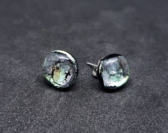 One of a kind, fused dichroic glass studs