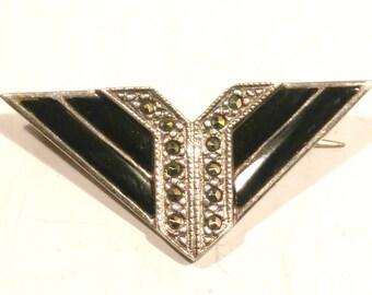 Dainty Art Deco Sterling Silver Enamel and Marcasite Chevron Brooch