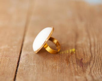 White round ring, Adjustable ring, White & gold ring, Gold adjustable ring, Adjustable large ring, White ring, Adjustable round ring