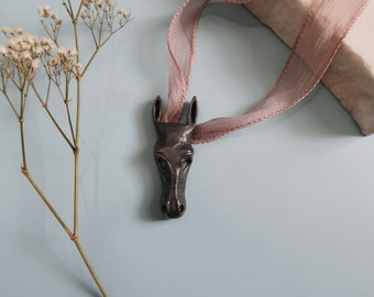 Oxidized Sterling Silver Horse Head Pendant