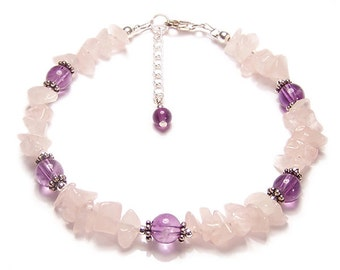Rose Quartz and Amethyst gemstone Sterling silver bracelet - pink gemstone chips, purple Amethyst