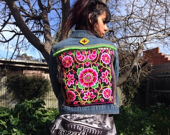 Embellished Denim Jacket- upcycled-Bohemian-Gypsy
