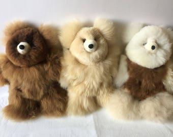 100% Real Baby Alpaca Fur Teddy Bear   10 In - 15 In Assorted Colors - Peruvian Art- Stuffed Alpaca Toy