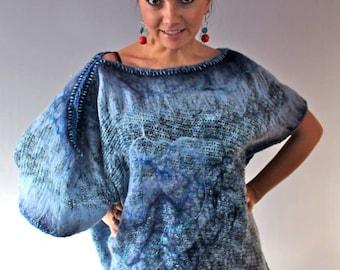 Handmade Asymmetrical Knitted Nuno Felted Wool Tunic Wearable Art