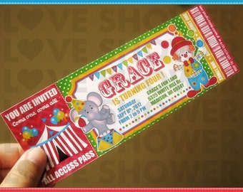 Circus Carnival Printable Birthday Invitation Ticket Style - Digital - Print Your Own