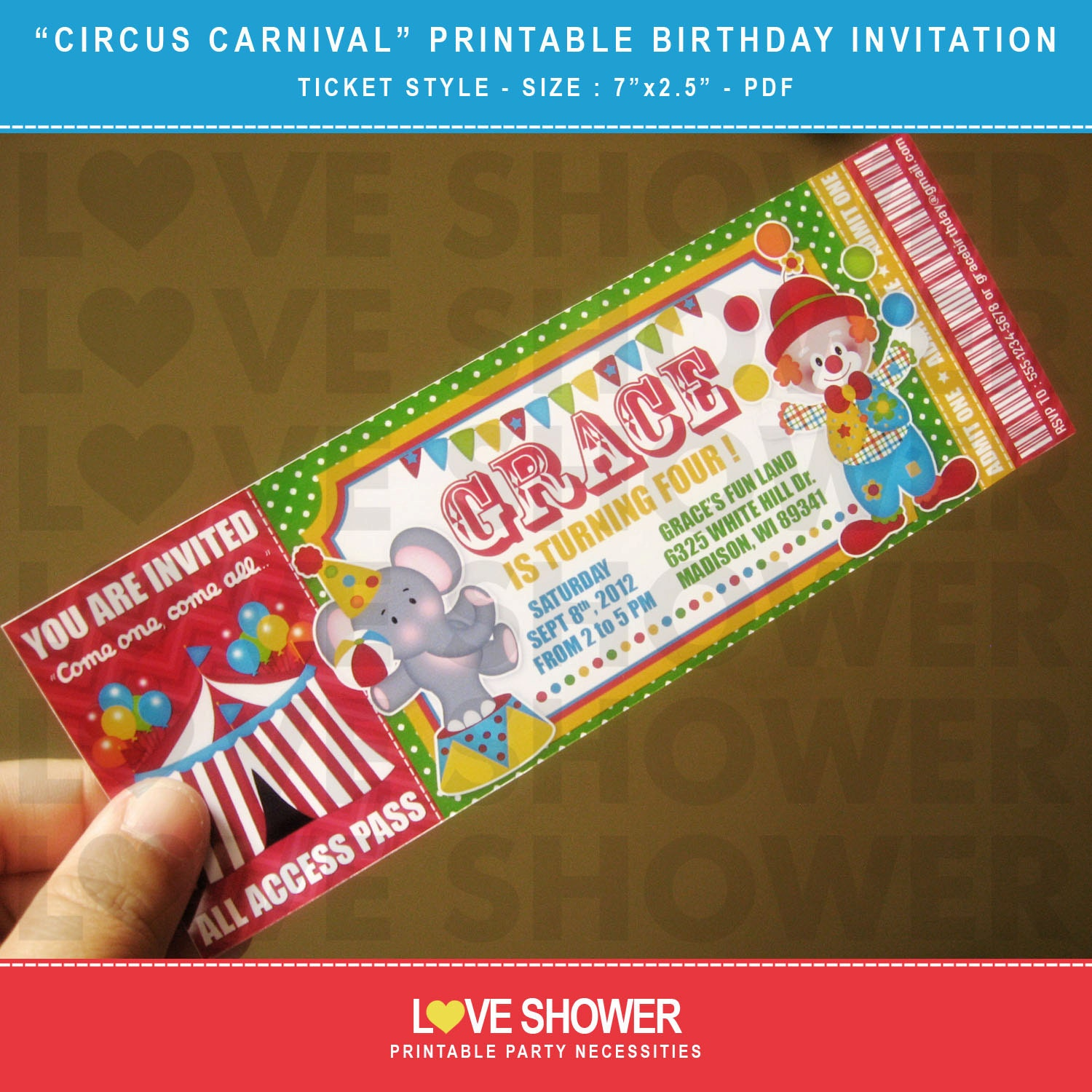 Circus Carnival Printable Birthday Invitation Ticket Style